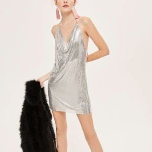 Topshop Chainmail Halter Neck Shift Dress